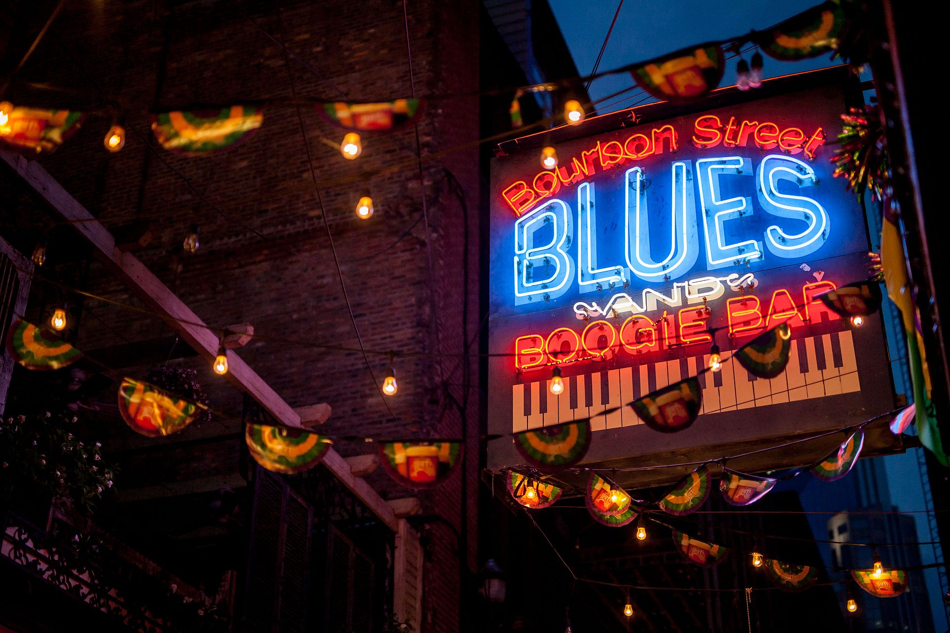 Bourbon Street Blues and Boogie Bar Sign in Printers Alley